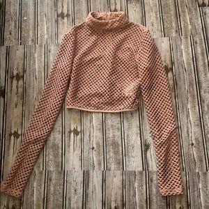 Forever 21 Tops - Blush pink fishnet crop top